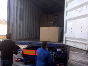 Loading a lorry for delivery